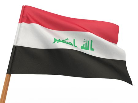 flag fluttering in the wind. Iraq. 3d photo