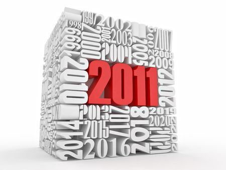 beginnings: New year 2011. Cube consisting of the numbers. 3d