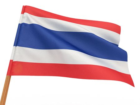 flag fluttering in the wind. Thailand. 3d Stock Photo - 8186529