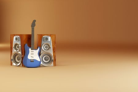 Guitar and louspeakers on yellow background. 3d photo
