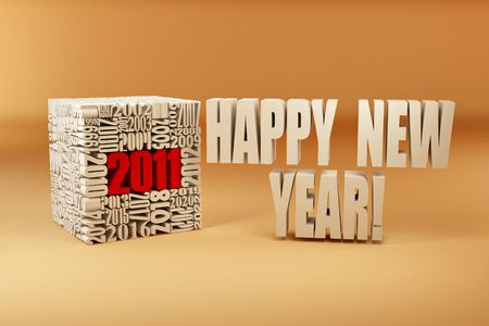 New year 2011. Cube consisting of the numbers. 3d photo