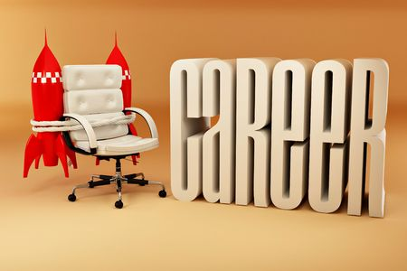 job promotion: Career opportunities. Office armchair with rockets.3d