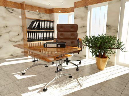 Office interior. Armchair, desk and folders. Recruitment. 3d Stock Photo - 8186769