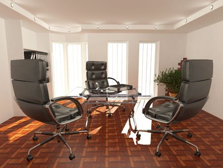 Office interior. Armchair, desk and folders. Recruitment. 3d Stock Photo - 8186768