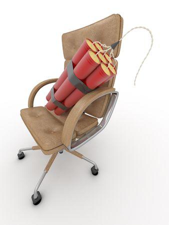 despido: Despido del administrador. Dynamit en el sill�n de oficina. 3D