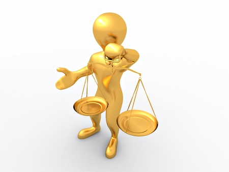 justice balance: Man with scale. Symbol of justice. 3d