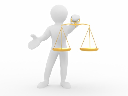 Man with scale. Symbol of justice. 3d Stock Photo - 8247367