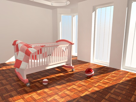 Childrens bed in an empty room, lit by sunlight. 3d photo