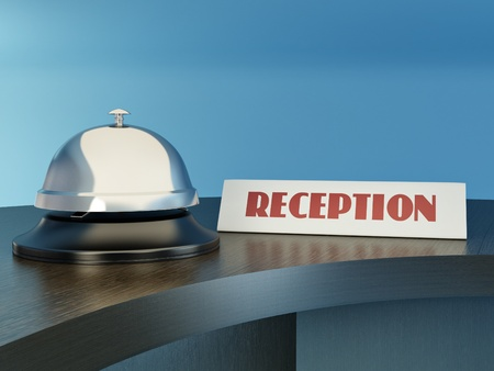 Hotel bell on the table. Reception. 3d photo