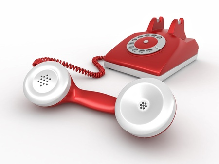 retrospective: Old-fashioned disk phone on white isolated background. 3d Stock Photo