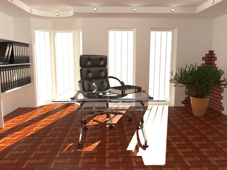 Office interior. Armchair, desk and folders. Recruitment. 3d Stock Photo - 8247444