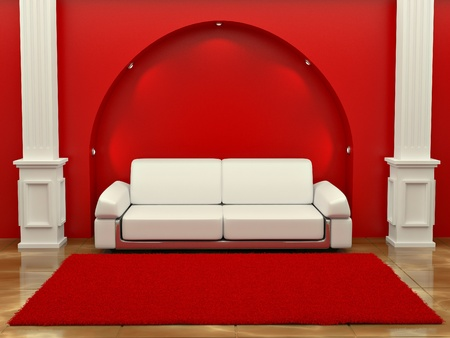 Inteiror. Sofa between the columns in red room. 3d photo