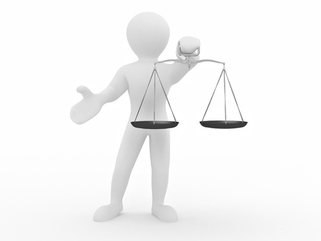 Man with scale. Symbol of justice. 3d Stock Photo - 8321070