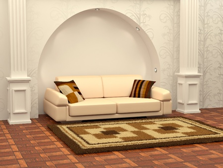 Inteiror. Sofa between the columns in red room. 3d Stock Photo - 8321123