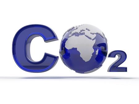 CO2. Formula on white isolated background. 3d photo
