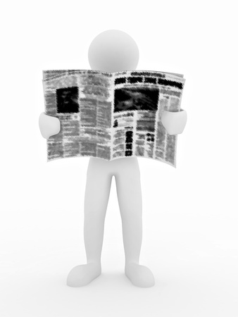 tabloid: Man reading newspaper on white isolated background. 3d Stock Photo
