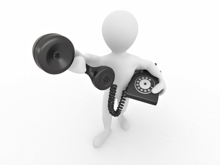 Man holding a telephone receiver on white isolated background. 3d photo