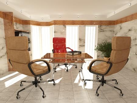 Office interior. Armchair, desk and folders. Recruitment. 3d Stock Photo - 8321125