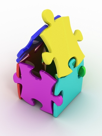 House from puzzle on white background. 3d photo