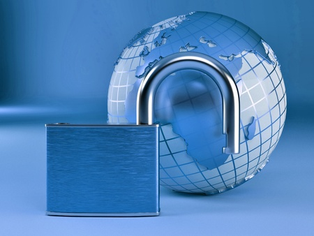 Earth with padlock on blue background. 3d Stock Photo - 8372721