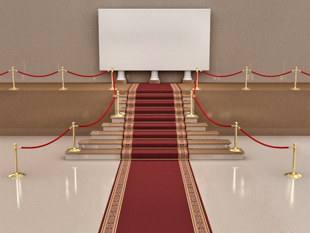 red carpet background: Climb on a pedestal. Abstract background. 3d