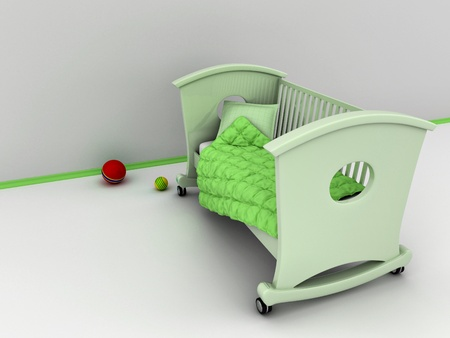 Green childrens bed on white background. 3d photo