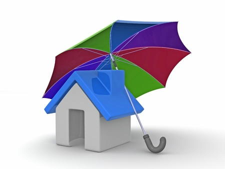 House and Umbrella on white background. 3d photo