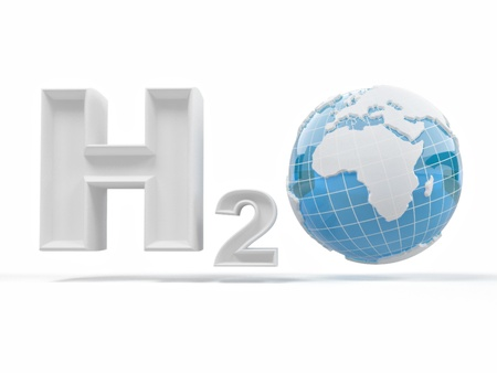 h2o: H2O. Formula of water. Stock Photo