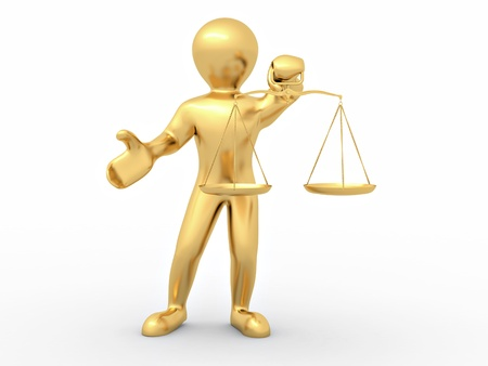 Man with scale. Symbol of justice Stock Photo - 8372619