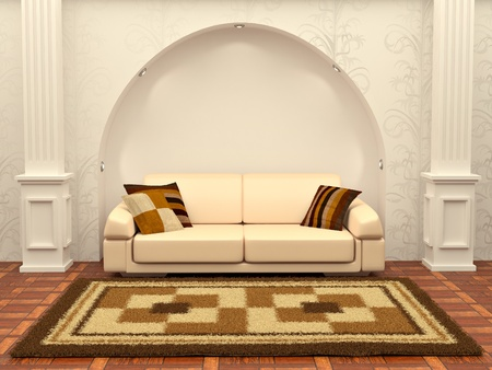 Inteiror. Sofa between the columns in white room Stock Photo - 8372724