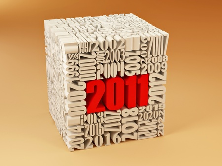 consisting: New year 2011. Cube consisting of the numbers Stock Photo