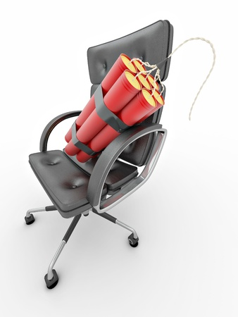 dismissal: Dismissal of manager. Dynamit on office armchair Stock Photo