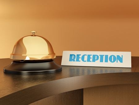 receptionist: Hotel bell on the table. Reception