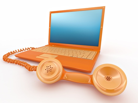 Laptop with old-fashioned phone reciever Stock Photo - 8372650