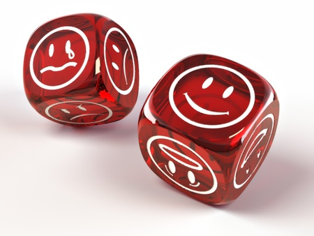 Dice with different emotions on faces photo