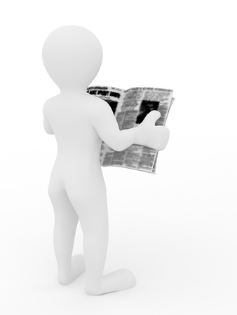 Man reading newspaper on white isolated background photo