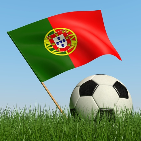 Soccer ball in the grass and the flag of Portugal against the blue sky. 3d photo