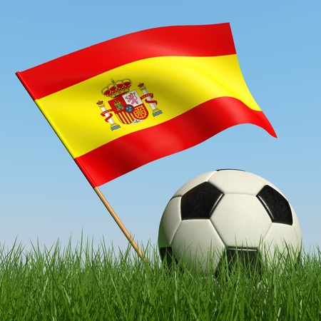 Soccer ball in the grass and the flag of Spain against the blue sky. 3d photo