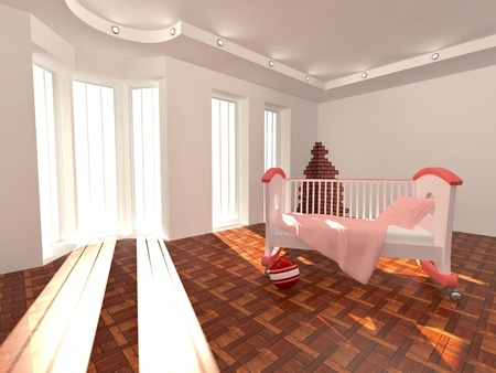Children's bed in an empty room, lit by sunlight. 3d Stock Photo - 8400628