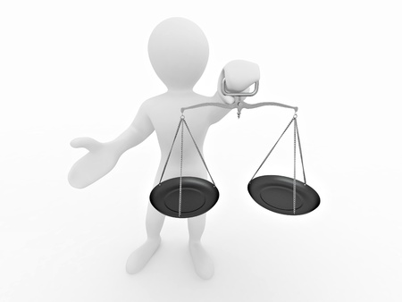 Man with scale. Symbol of justice. 3d Stock Photo - 8400597