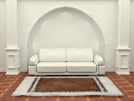 single rooms: Inteiror. Sofa between the columns in white room. 3d