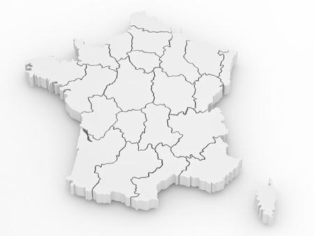 bandera francia: Mapa tridimensional de Francia sobre fondo blanco de aislados. 3D Foto de archivo