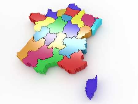 corsica: Three-dimensional map of France on white isolated background. 3d