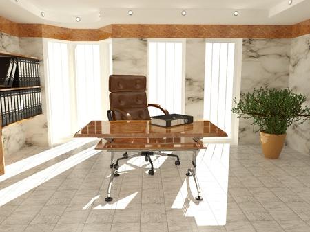 Office interior. Armchair, desk and folders. Recruitment. 3d Stock Photo - 8400634