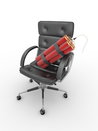 Dismissal of manager. Dynamit on office armchair. 3d photo