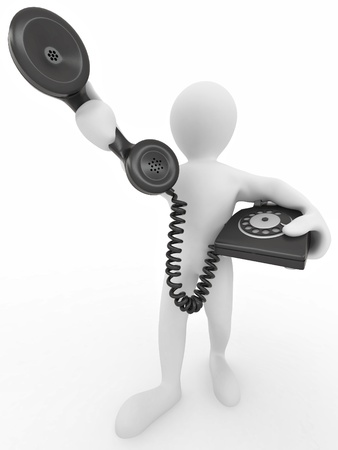 telephone operator: Man holding a telephone receiver on white isolated background. 3d Stock Photo
