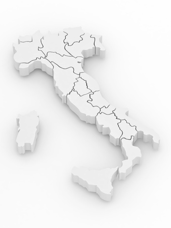 Three-dimensional map of Italy on white isolated background. 3d Stock Photo - 8500946