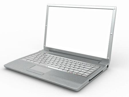 Opened laptop on white isolated background. 3d Stock Photo - 8500985