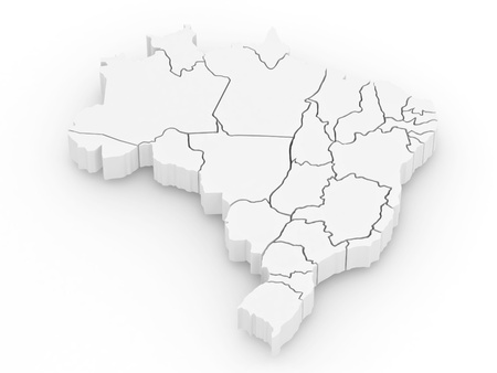 Three-dimensional map of Brazil on white isolated background. 3d Stock Photo - 8500944