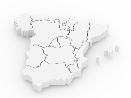 spain: Three-dimensional map of Spain on white isolated background. 3d